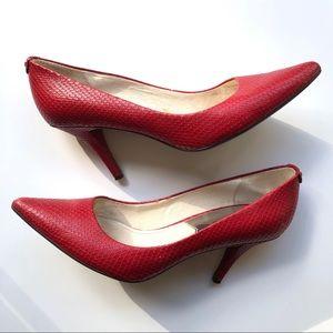 Michael Kors Red Leather Snakeskin Heels